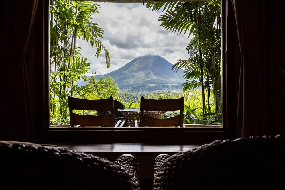 Photo from king bed in honeymoon suite of Arenal Volcano.
