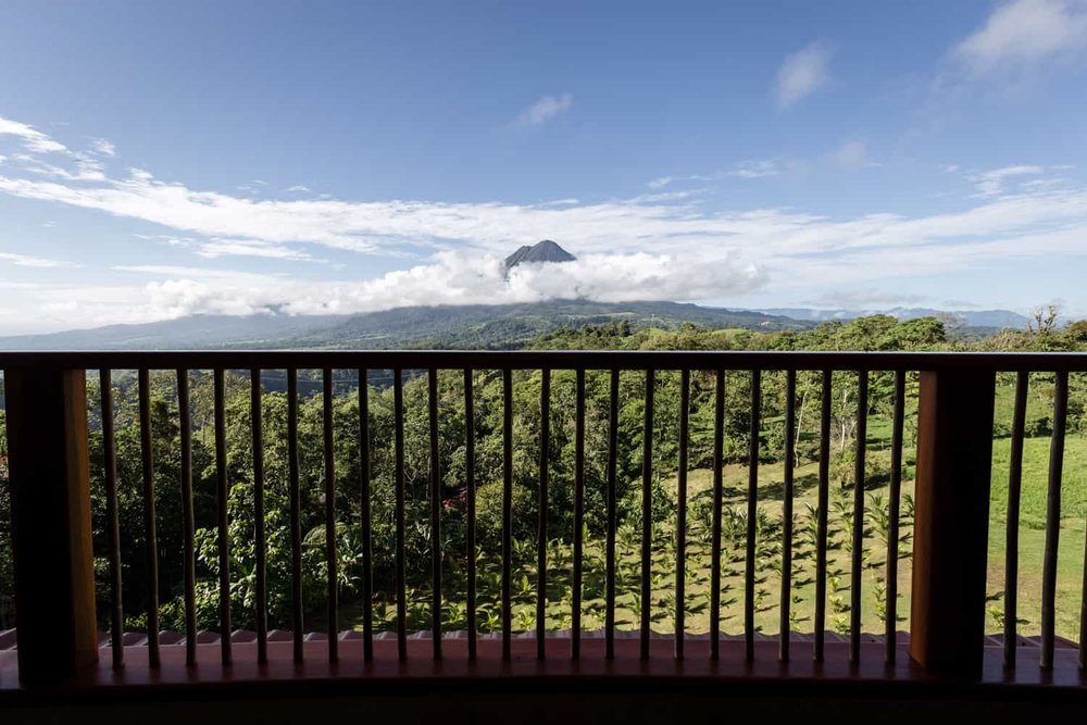 Guest room balcony view of Arenal Volcano.