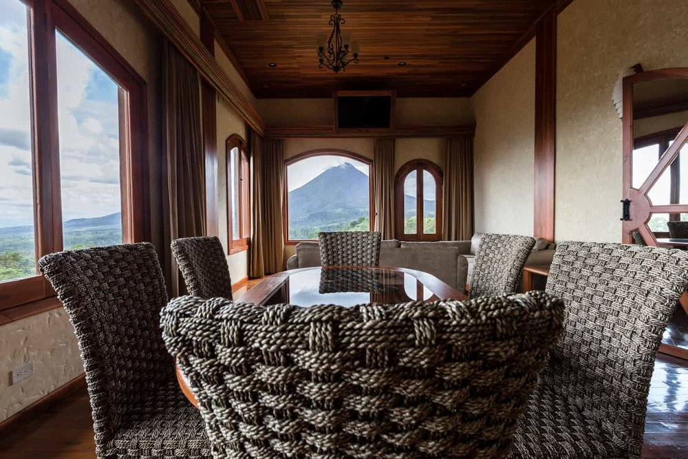 Volcano and rainforest views in Springs Resort penthouse dining room.