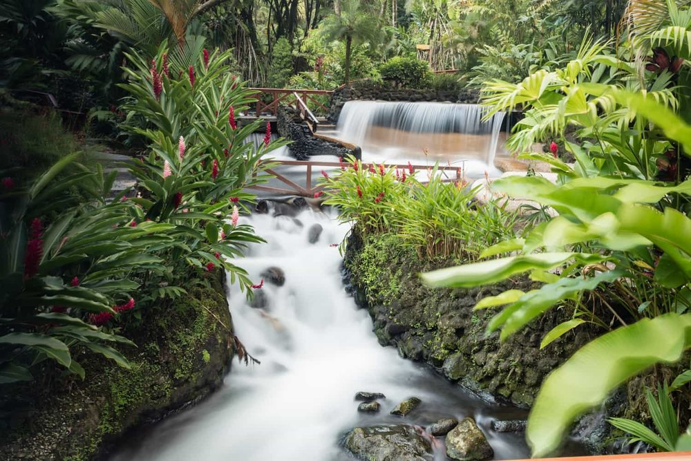 A thermal spring-fed river pours over a waterfall and into river passing through Tabacon Thermal Resort.
