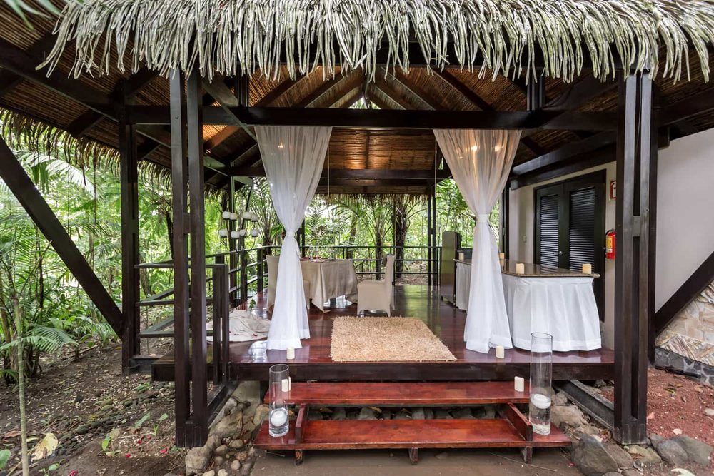 Tabacon's private bungalow for intimate weddings.
