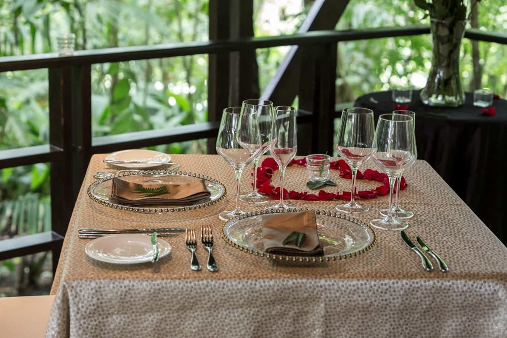 Table settings with rose petals for just married couple at Tabacon Resort.