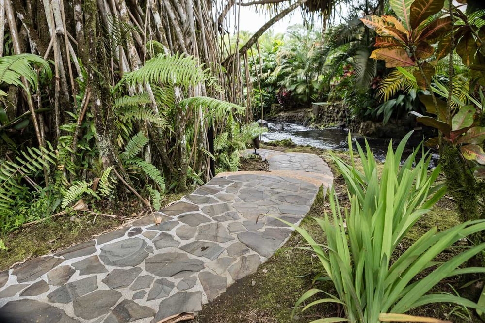 Stone path in Tabacon Resort botanical garden.