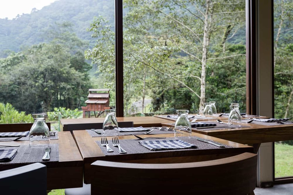 View of mountains from table in wedding events room at El Silencio Lodge.