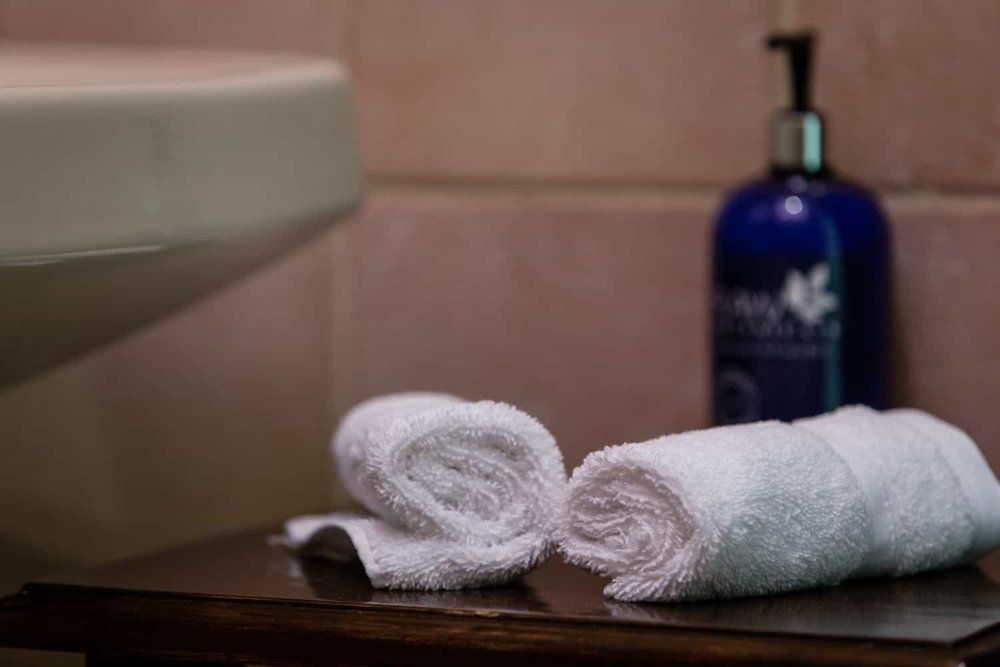 Amenities in bathroom in Bahia del Sol Hotel's guest room.