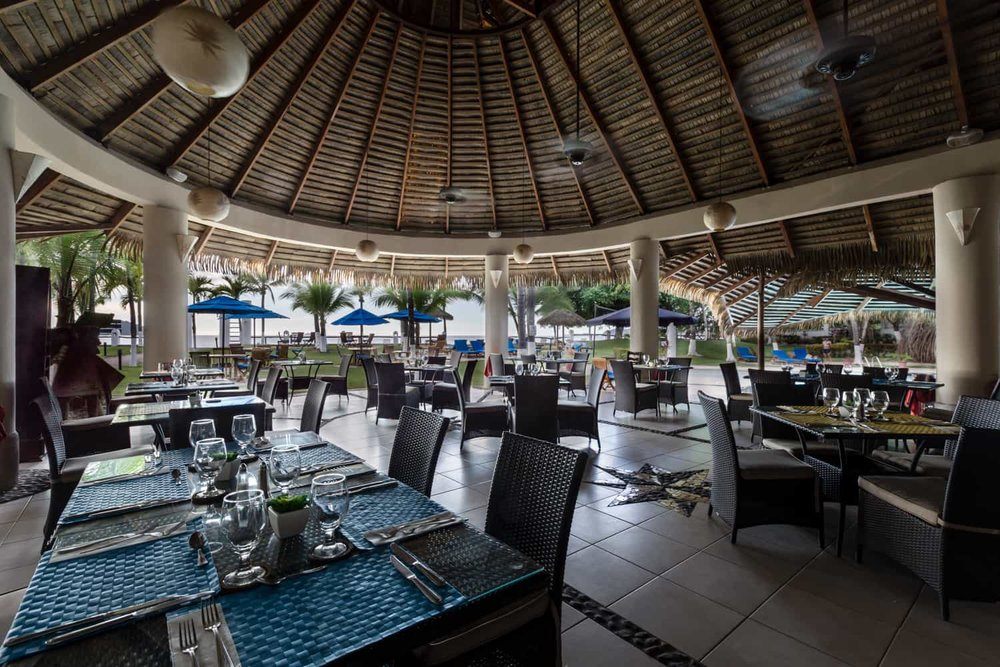 Inside Bahia del Sol's great beach front restaurant.
