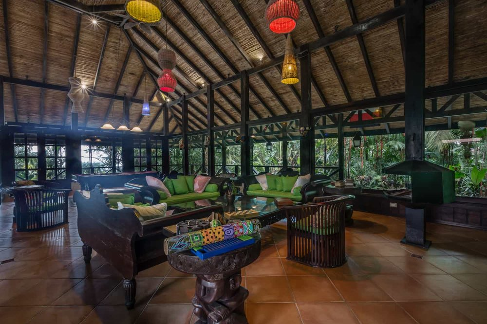 Spacious venue for indoor wedding celebration at Rio Celeste Hideaway Hotel.