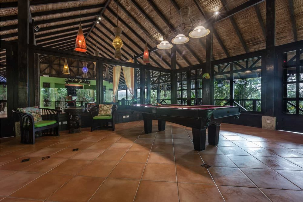 Indoor location for weddings at Rio Celeste Hideaway Hotel with rainforest views.