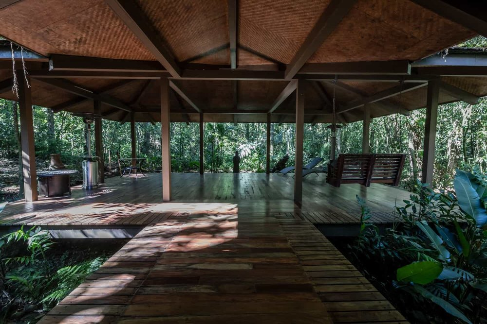 Full view of El Silencio Lodge wedding ceremony pavilion.