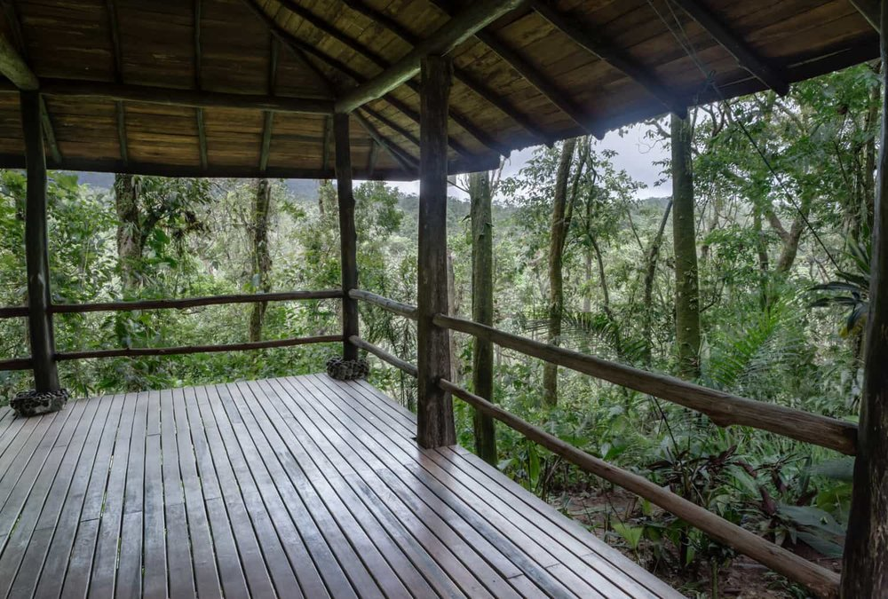 View of rainforest from wedding ceremony pavilion at Rio Celeste Hideaway Hotel.