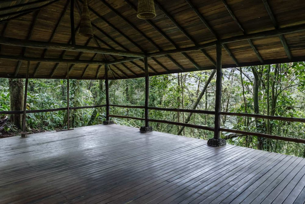 Covered area of Rio Celeste Hideaway Hotels wedding ceremony pavilion.