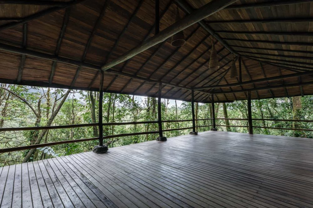 Beautiful wood pavilion in rainforest for wedding ceremonies in Costa Rica.