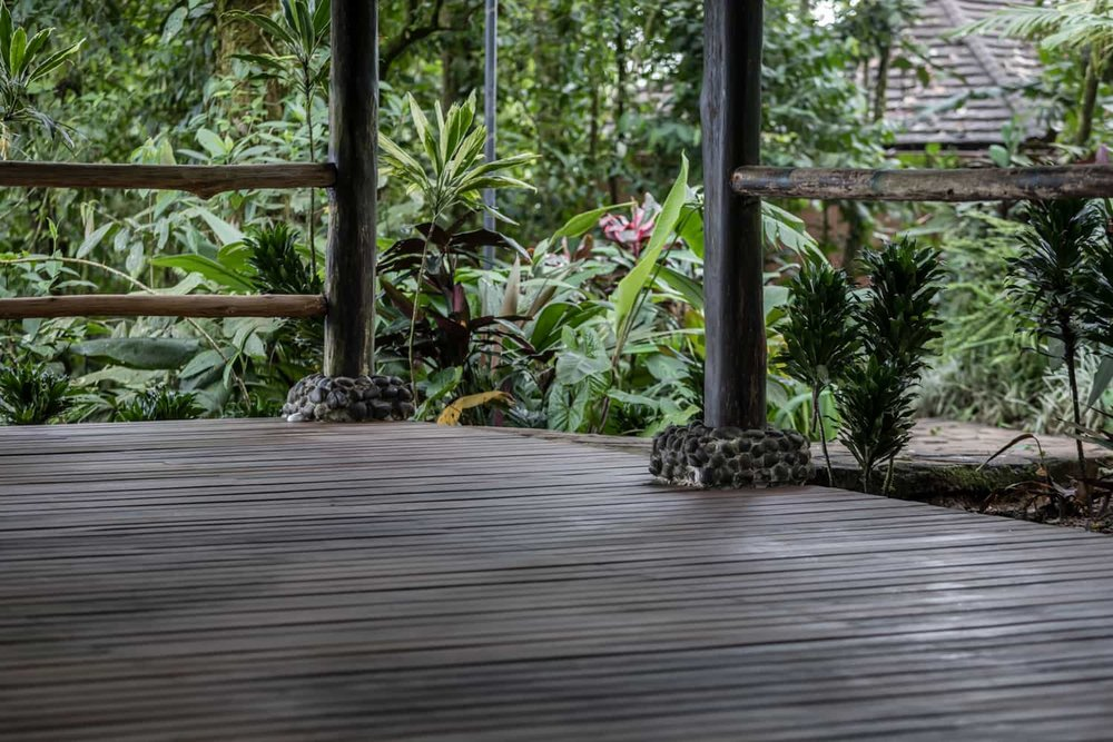 Gorgeous wood floors at Rio Celeste Hideaway Hotel's site for rainforest weddings.