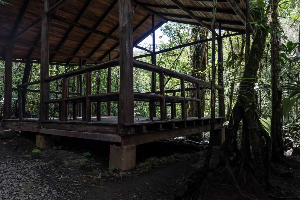 Photo of back of small deck at Rio Celeste Hideaway Hotel for weddings.