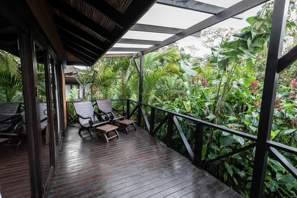 Photo of private wood deck for small weddings at Rio Celeste Hideaway Hotel.