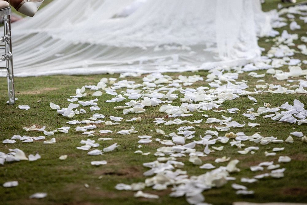 White flower petals decorate aisle leading to altar for beach wedding ceremony.