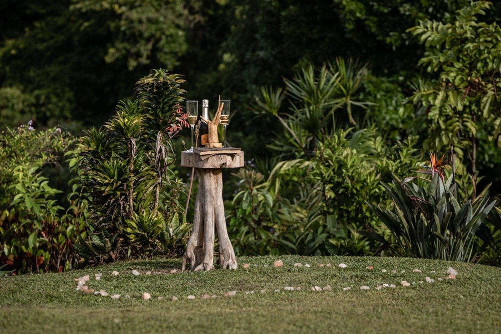 Stones mark wedding ceremony location in tropical garden in Costa Rica.