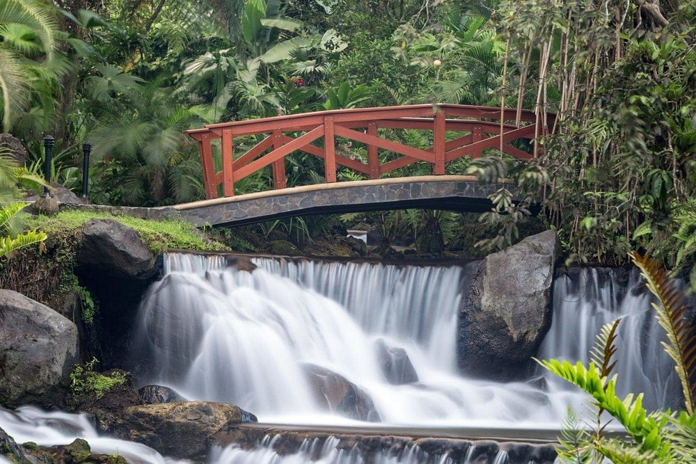 The romantic red bride over the thermal-springs waterfall at Tabacon in La Fortuna is an amazing place to propose.