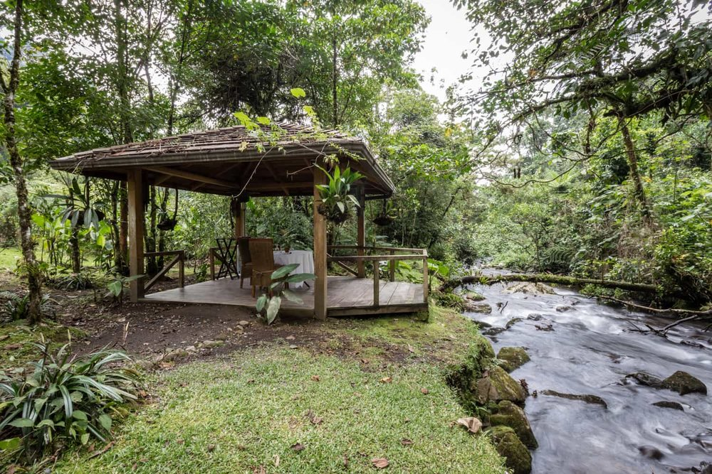 Great location to propose at riverside gazebo at El Silencio in Bajos del Toro.