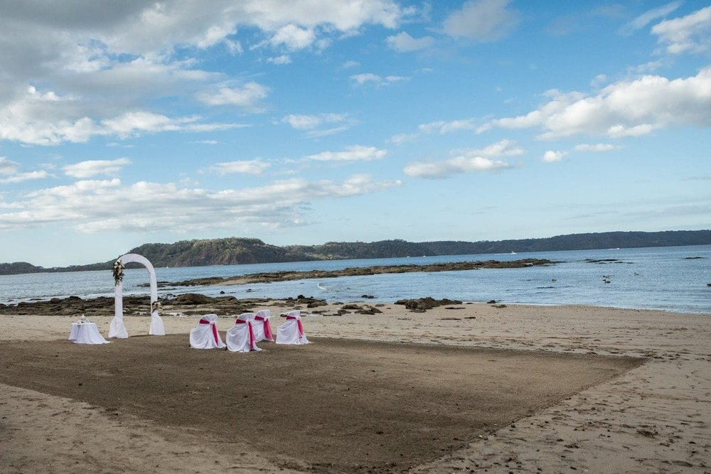 Intimate beach wedding ceremony at Occidental Papagayo Resort in Costa Rica.