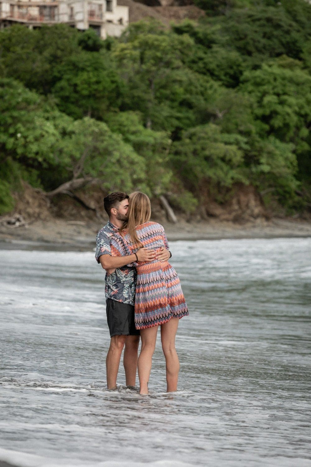 Costa Rica engagement session photo of couple on beach.