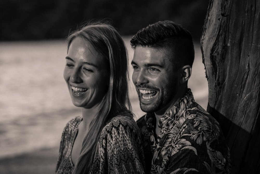 Couple smiles during their Costa Rica engagement photo session.