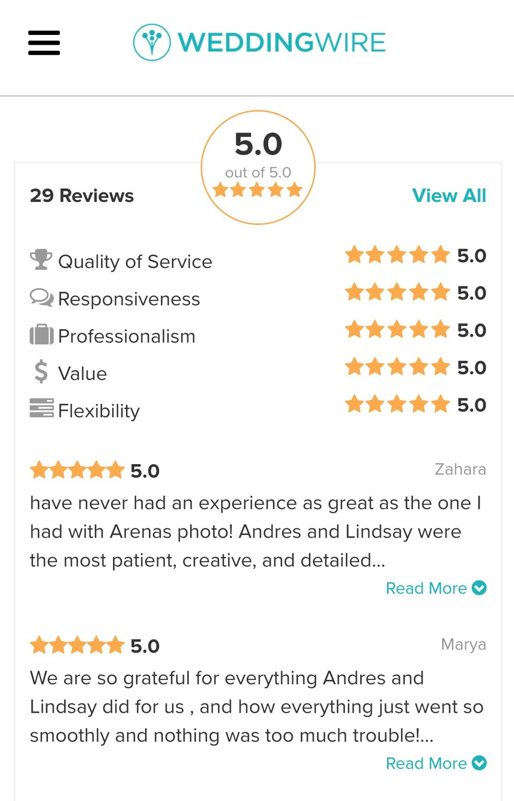 Reviews our clients have left on WeddingWire