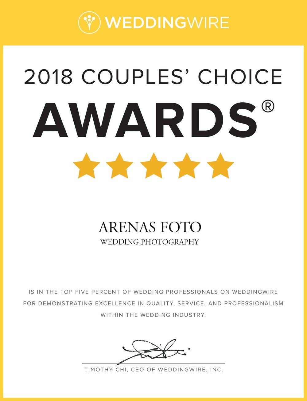 Our Wedding Wire 2018 Couples Choice Award for being in the top 5% of photographers in Costa Rica!