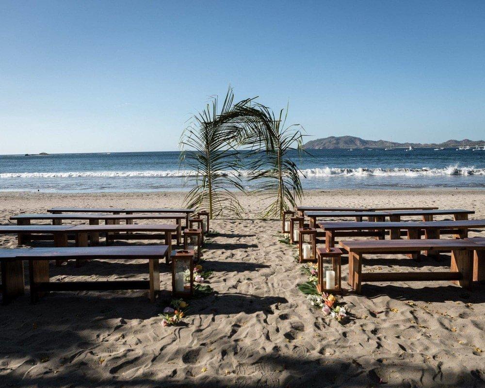 Beach wedding venue at Langosta Beach Club in Costa Rica.