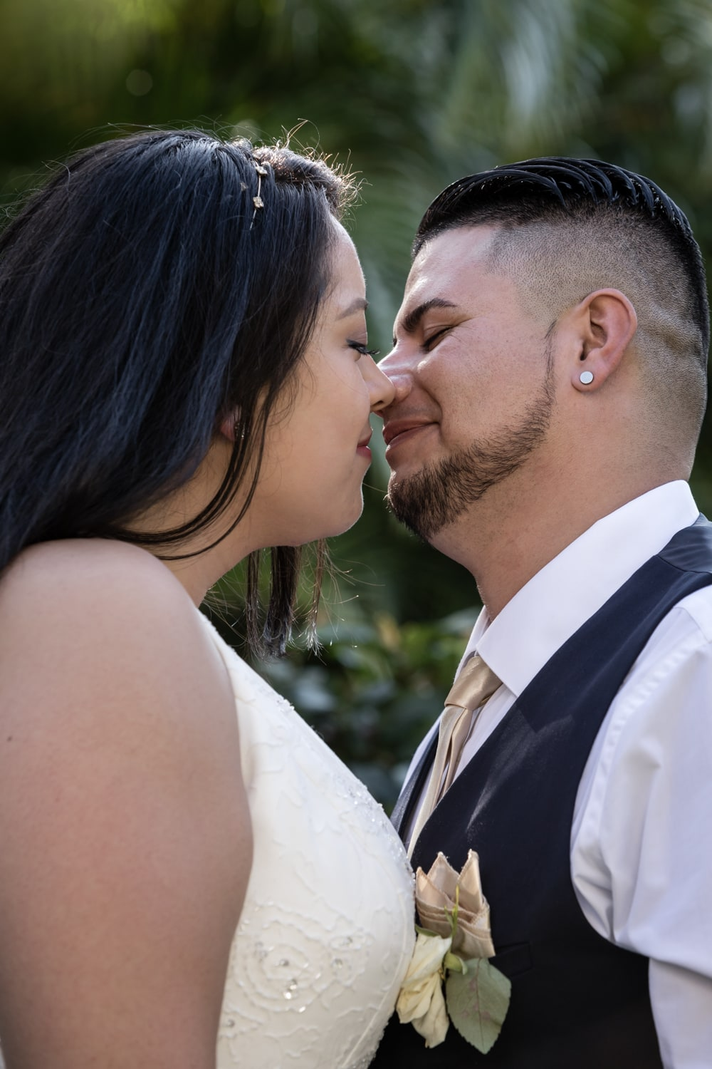 Couples first kiss as husband and wife after tying the knot.