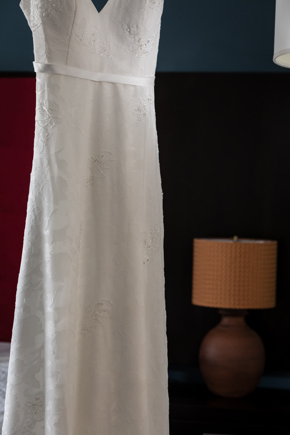 Photo of wedding dress in bridal suite at hotel in Costa Rica.