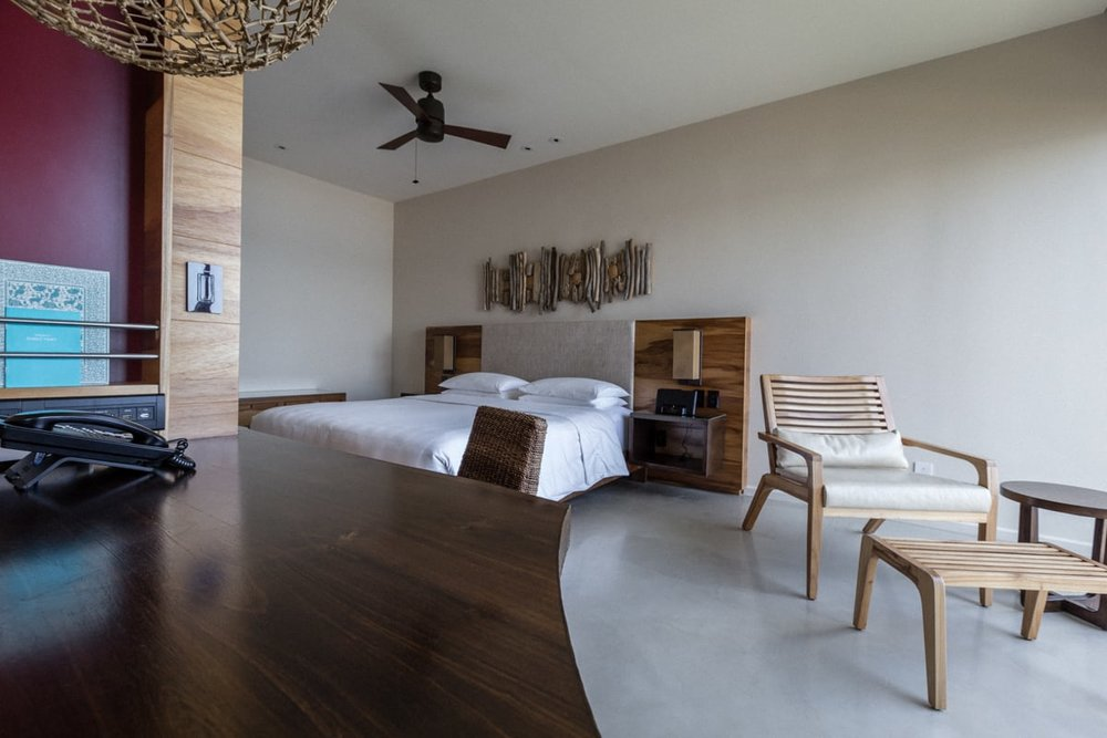 Bedroom in guest room for wedding guests at Andaz Resort.