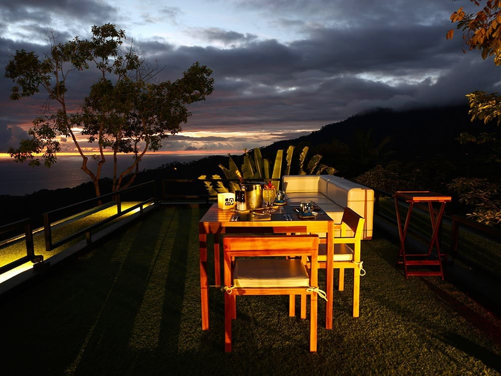 Just after sunset at Sky Lounge, one of Kura Hotel's sites for wedding receptions and cocktail hour.
