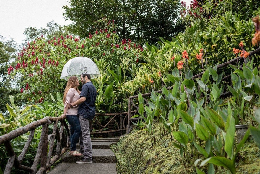 Romantic photo of engaged couple in tropical garden at La Paz Waterfall Gardens.