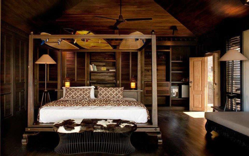 Bedroom for wedding guests at El Chante Bungalows.