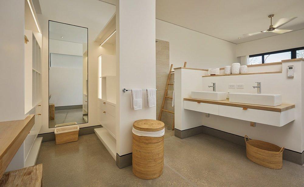Luxury bathroom in master suite for bride and groom at Villa Morabeza.