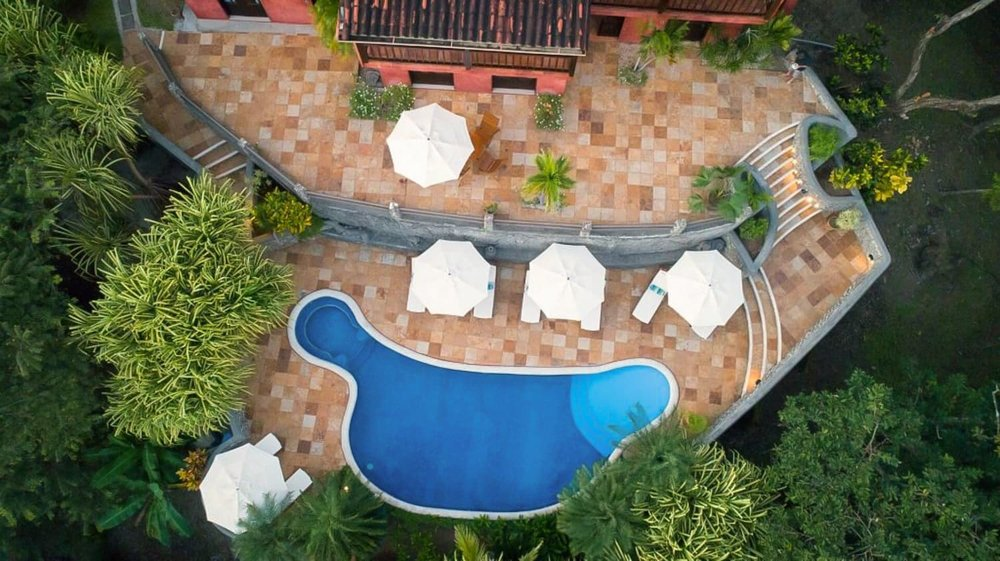 Arial view of terrace area for wedding receptions and the pool area at Hacienda Barrigona.