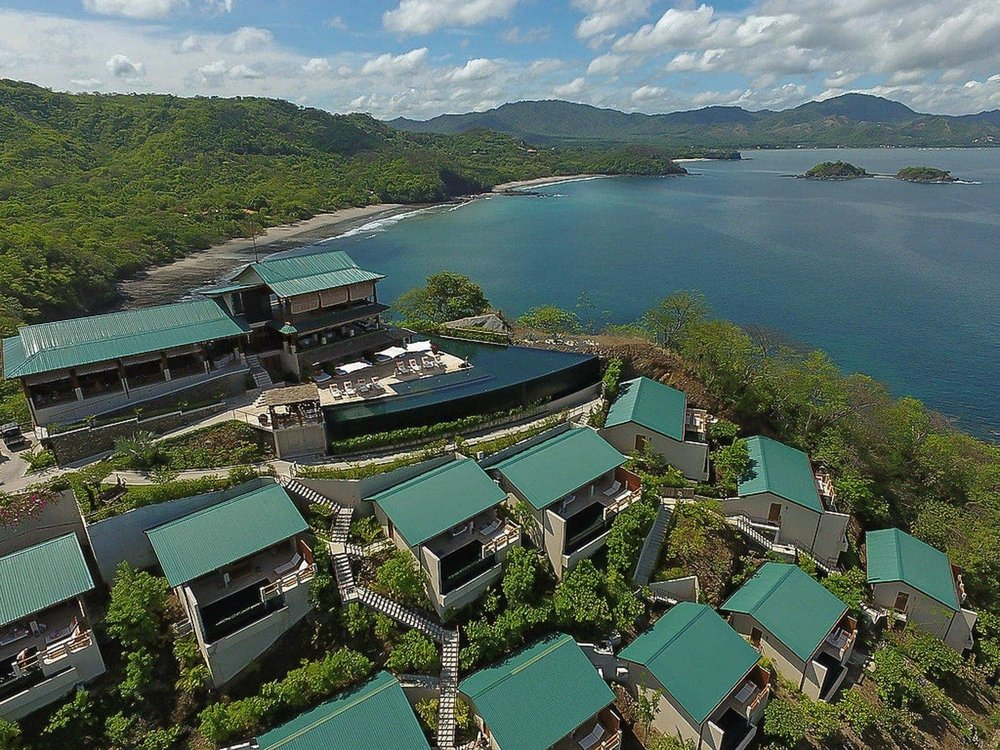 Areal view of Casa Chameleon Las Catalinas hotel in the town of Las Catalinas in Guanacaste, Costa Rica.