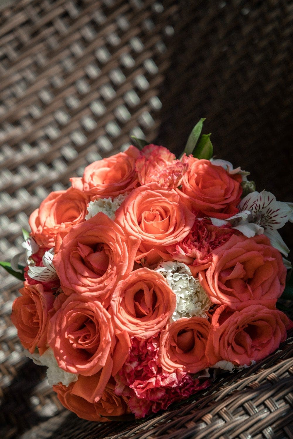 Beautiful bridal bouquet bathed in suns rays.