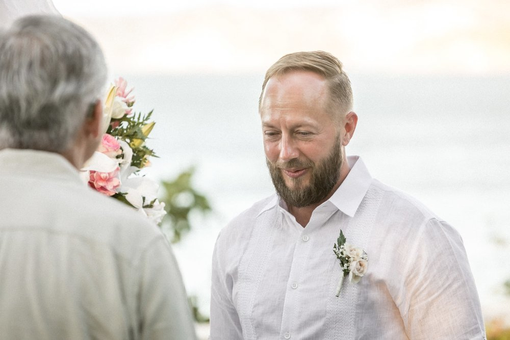 Father of bride speaks during wedding ceremony in Costa Rica.