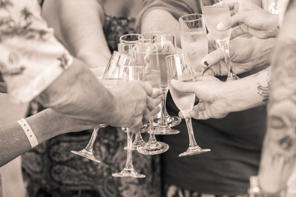 """Family and friends toast after bride and groom say """"I do""""."""