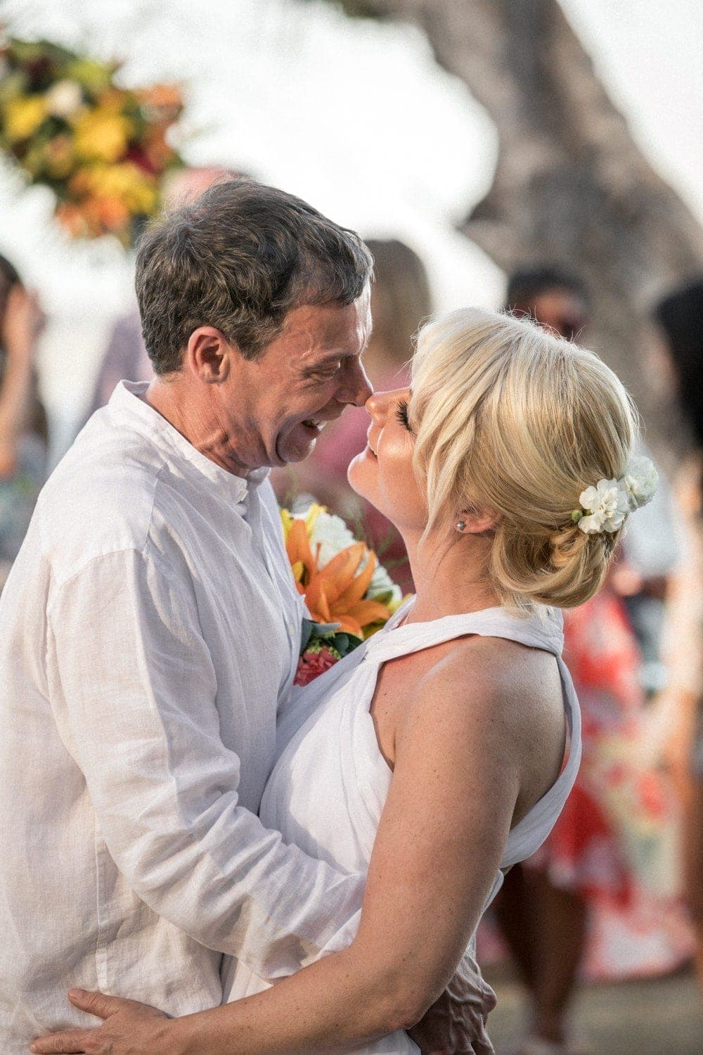 Just married couple kissing after wedding ceremony in Costa Rica.