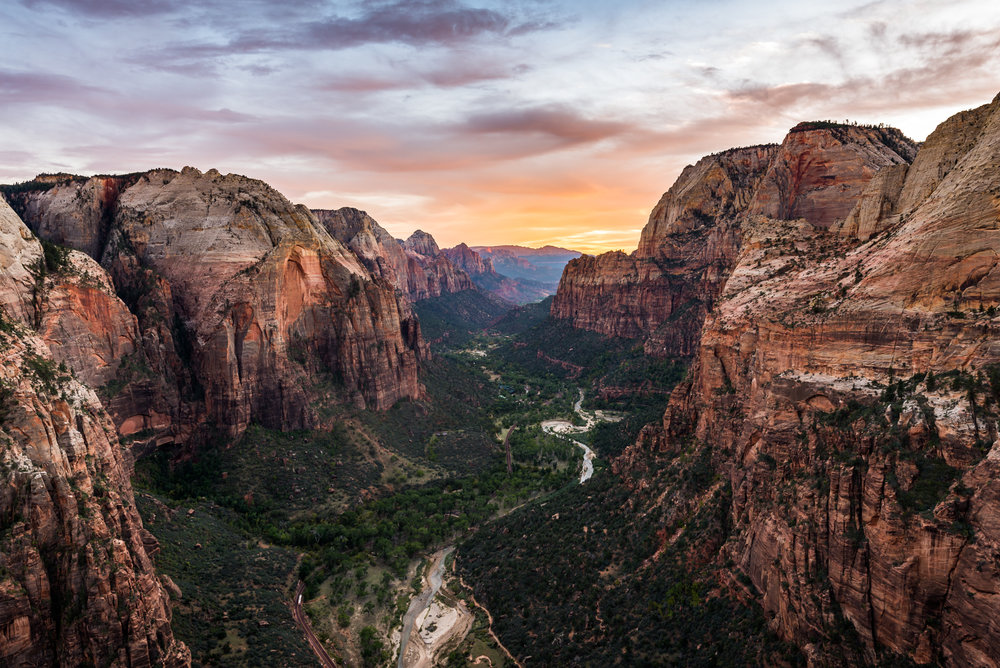 View of Zion Canyon from the top of Angels Landing.