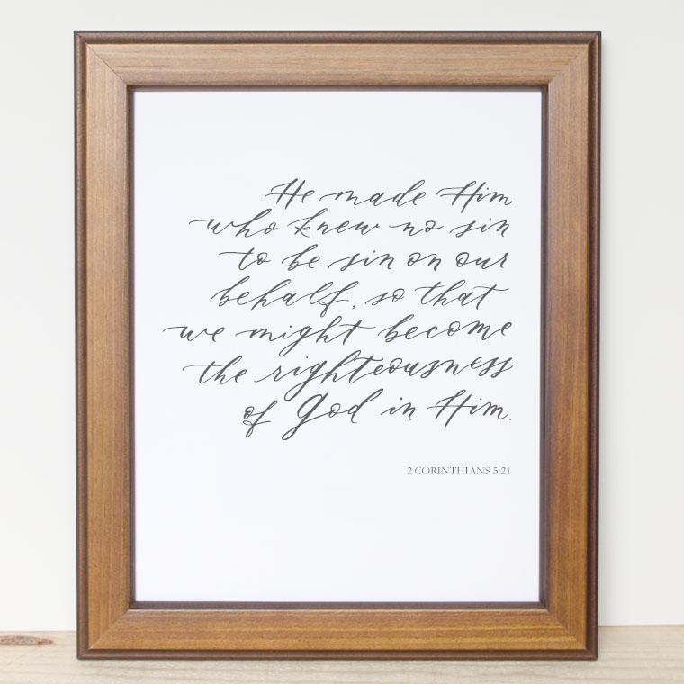 Bible Verse Print - 2 Corinthians 5:21
