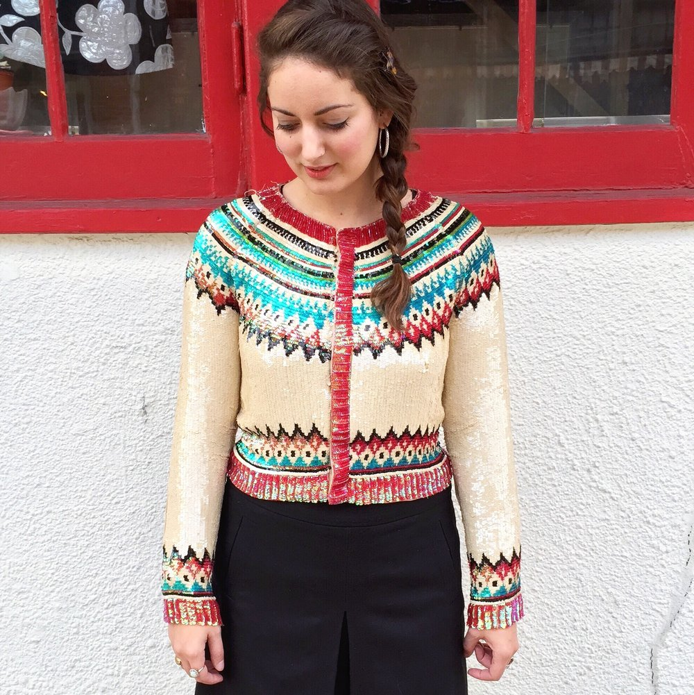 One of my best eBay finds- a fully sequined fair isle Jean Paul Gaultier cardigan. The picture was blurry and there were some sequins missing.