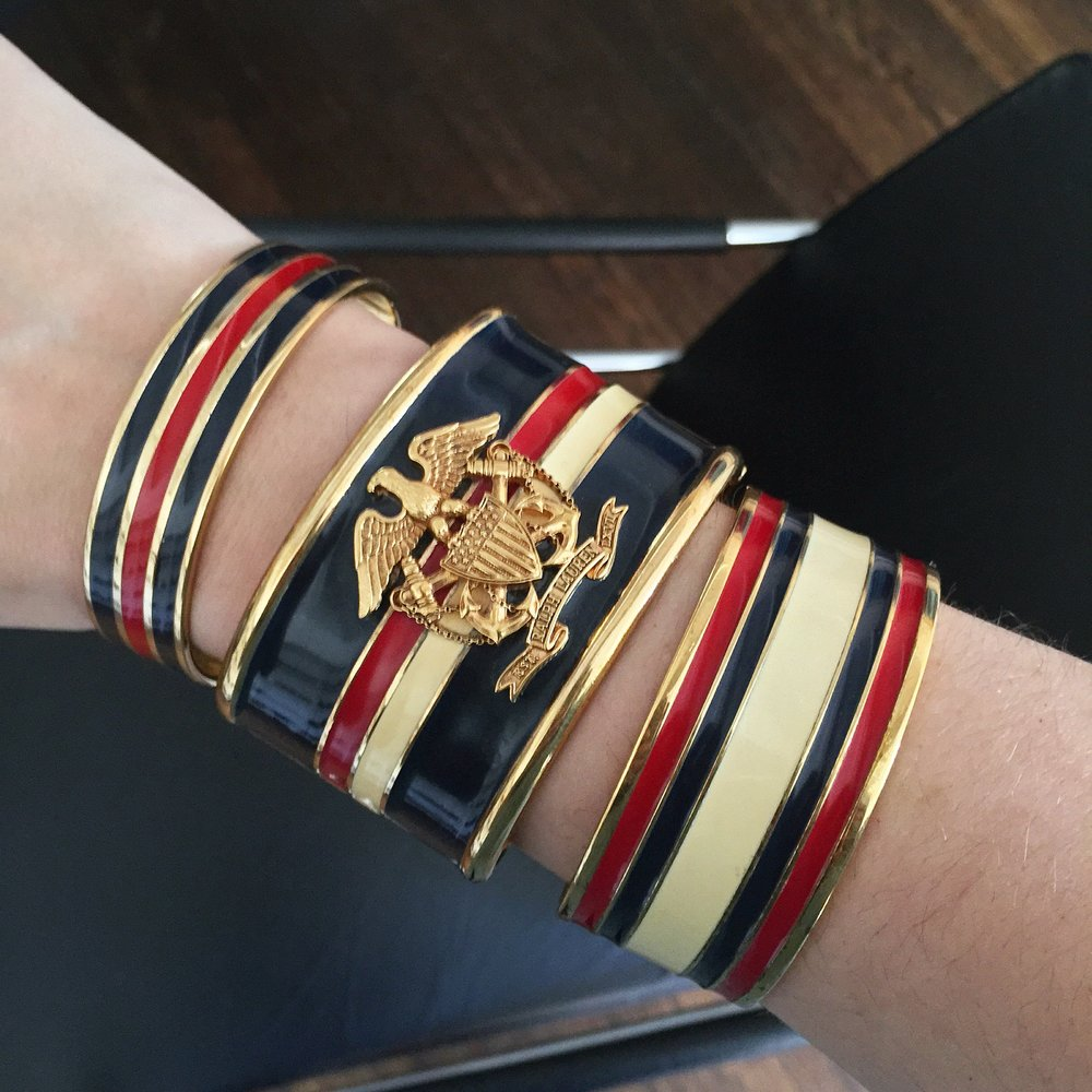 Vintage Ralph Lauren Collection enamel bangles- these may have been runway samples.