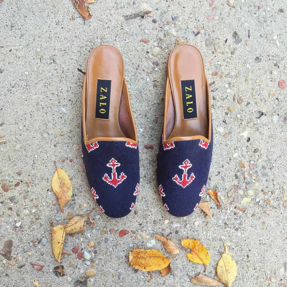 Embroidered anchor mules- didn't have these for long.