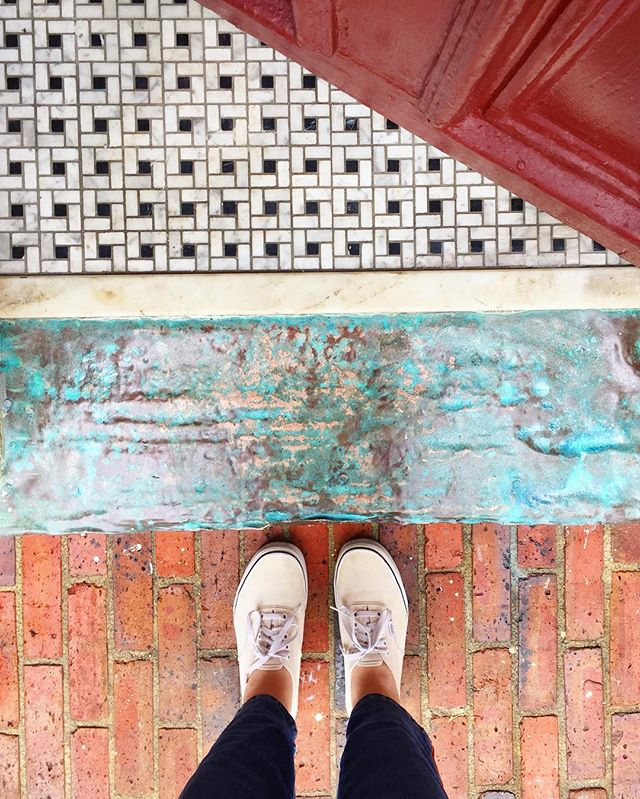 I've walked in and out of my building (circa 1905) thousands of times and just noticed all the colors and materials and textures of my entryway 🧐 I think it was the cool mountain rain air and a long walk- freshened up my soul a bit. 🕊 #mdinfocus