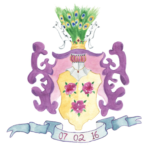 whimsical watercolor interpretation of the groom's family crest