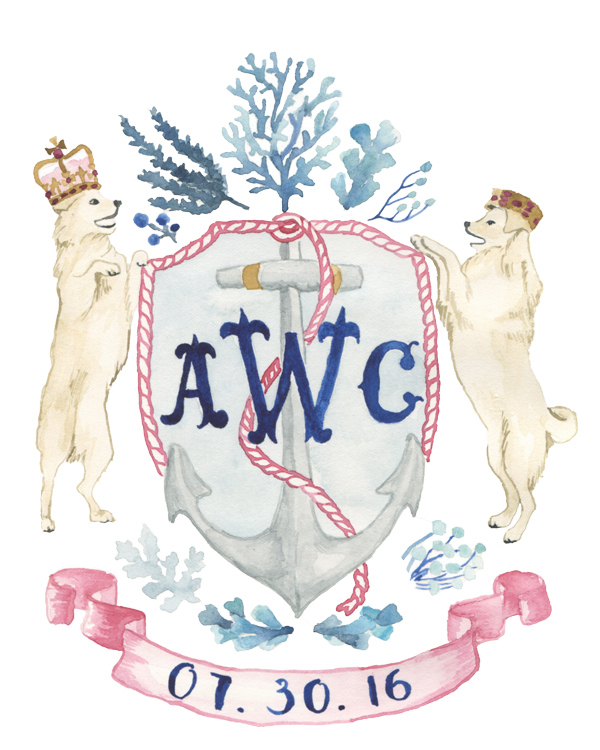 nautical wedding crest featuring the couples dog
